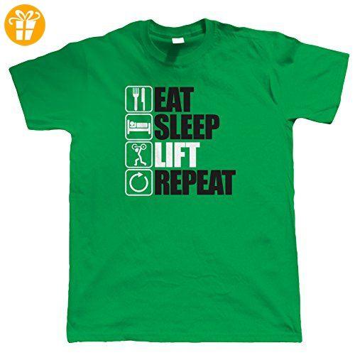 Vectorbomb, Eat Sleep Heben Repeat Bodybuilding T-Shirt (S bis 5XL) -