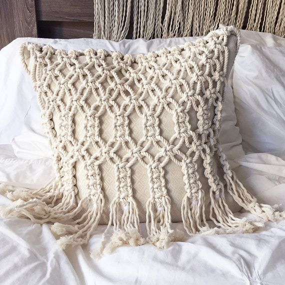Macrame Macrame Pillow Pillows Throw Pillow Decorative Pillows Wedding Gift Macrame Furniture Macrame Design Macrame Patterns