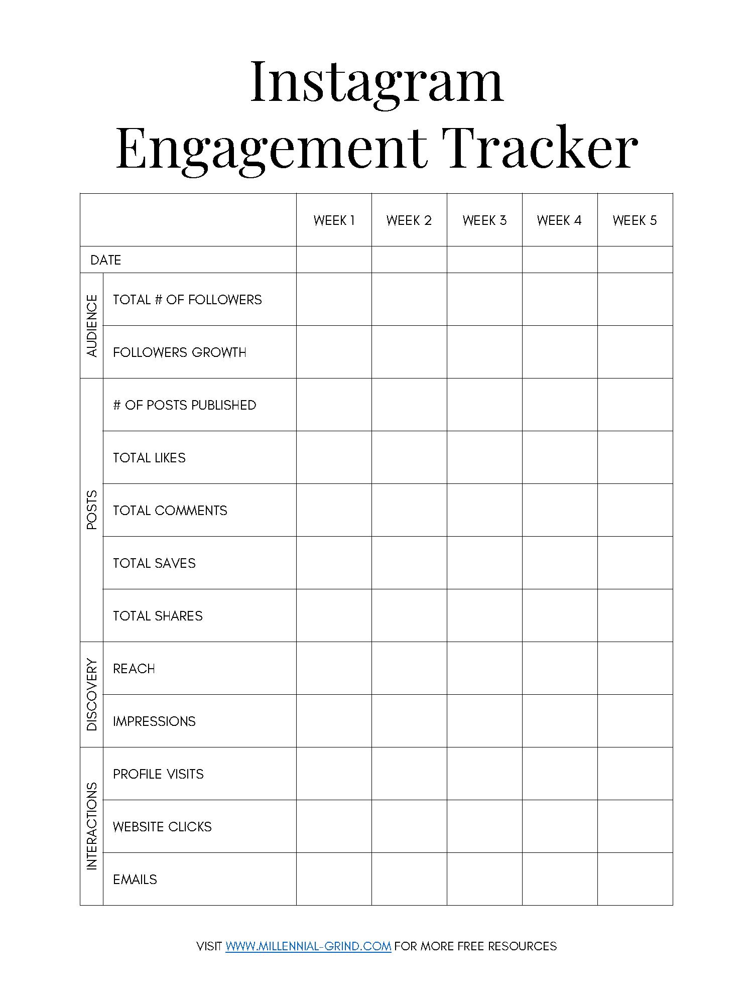 Tracker To do Instant Download Social Media Checklist printable PDF