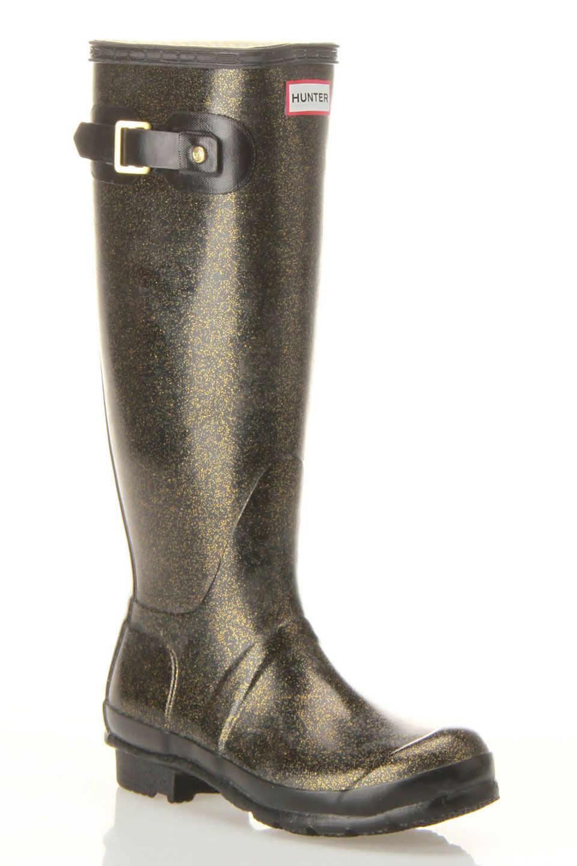 ec064b457c Hunter Original Glitter Rain Boots In Black Sapatos