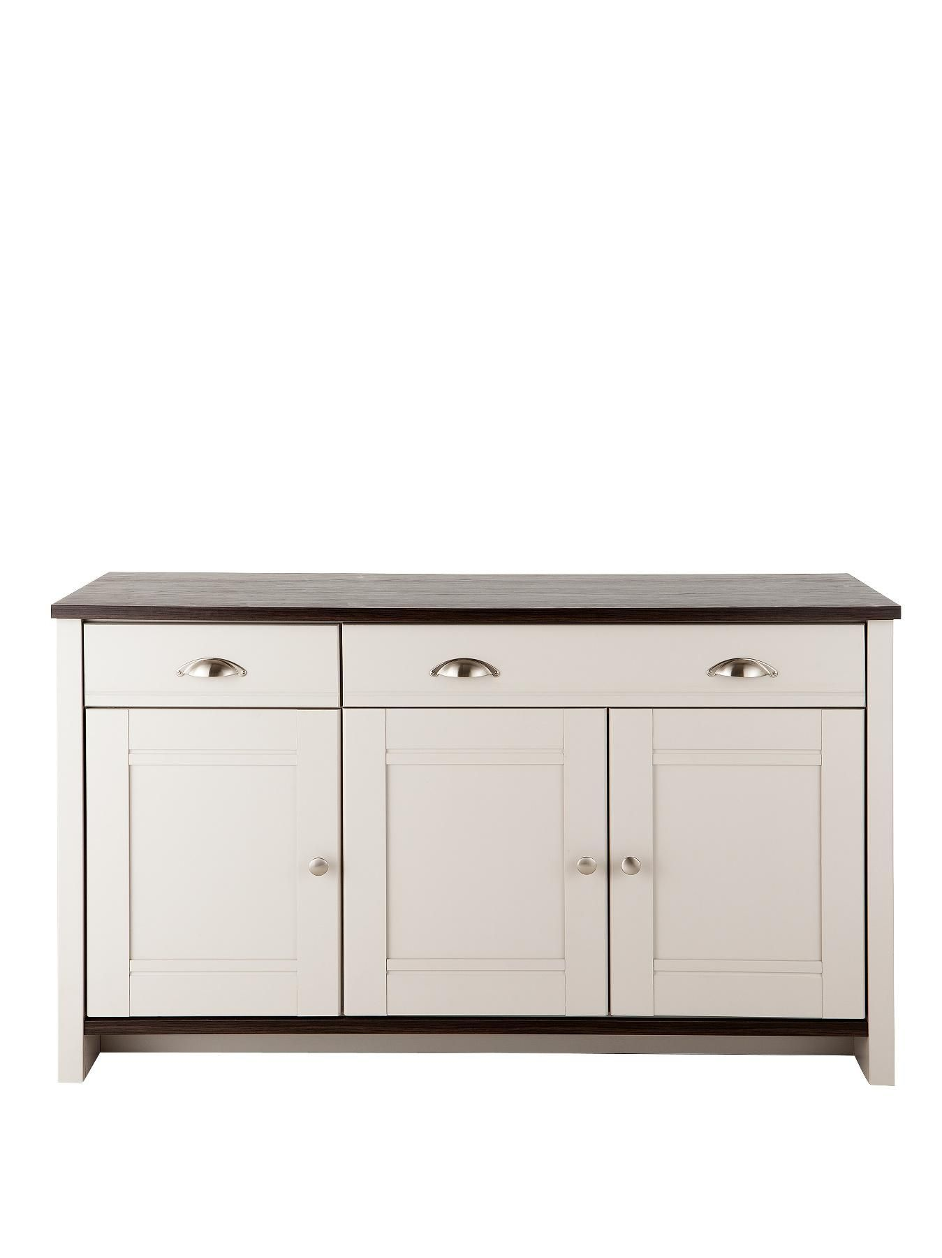 Consort tivoli ready assembled large grey sideboard with - Walnut effect living room furniture ...