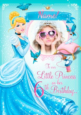Personalised Disney Princess Birthday Card With Photo Upload