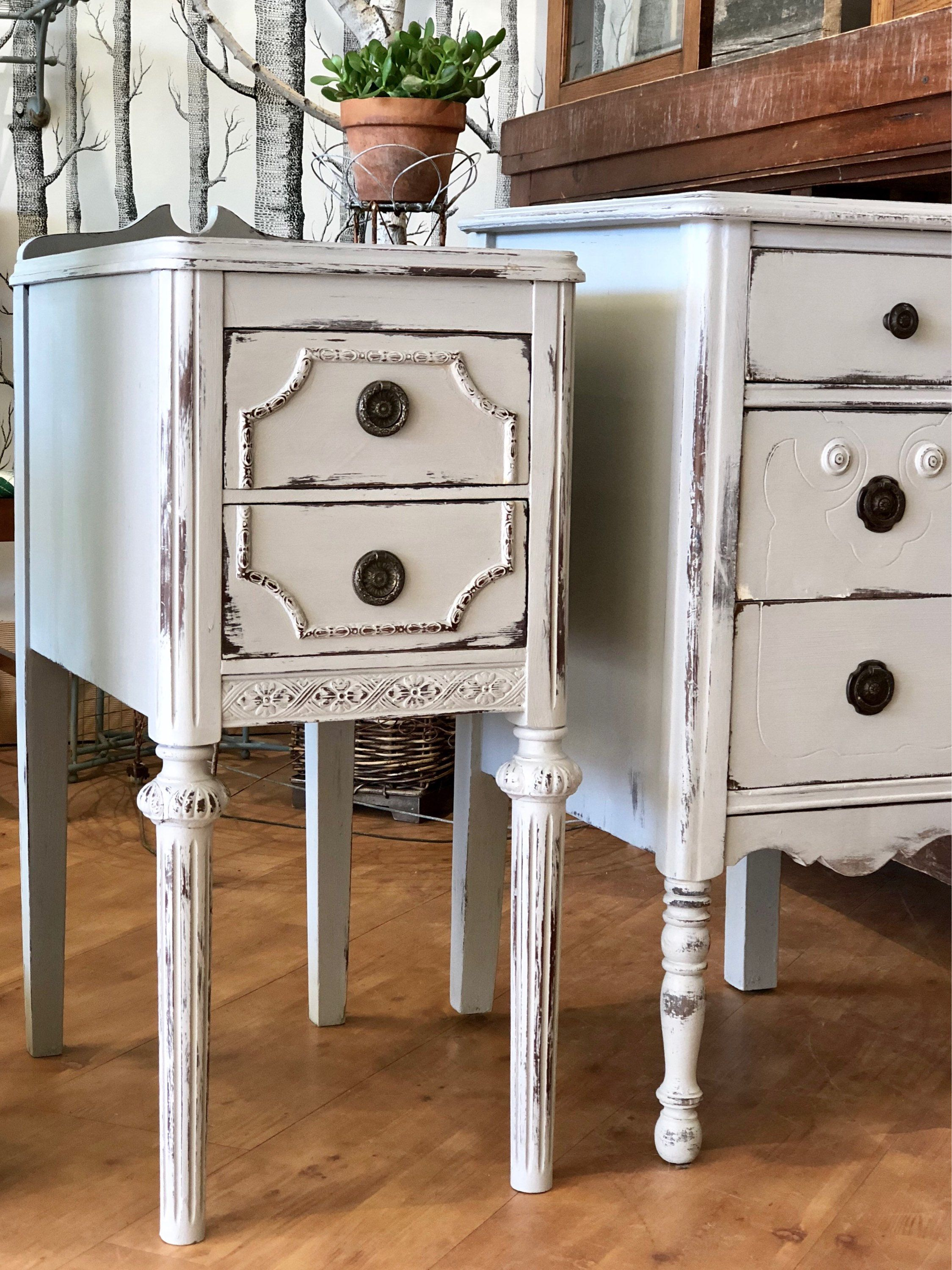 Vintage Nightstands Two Available Vintage Grey Nightstand Gray