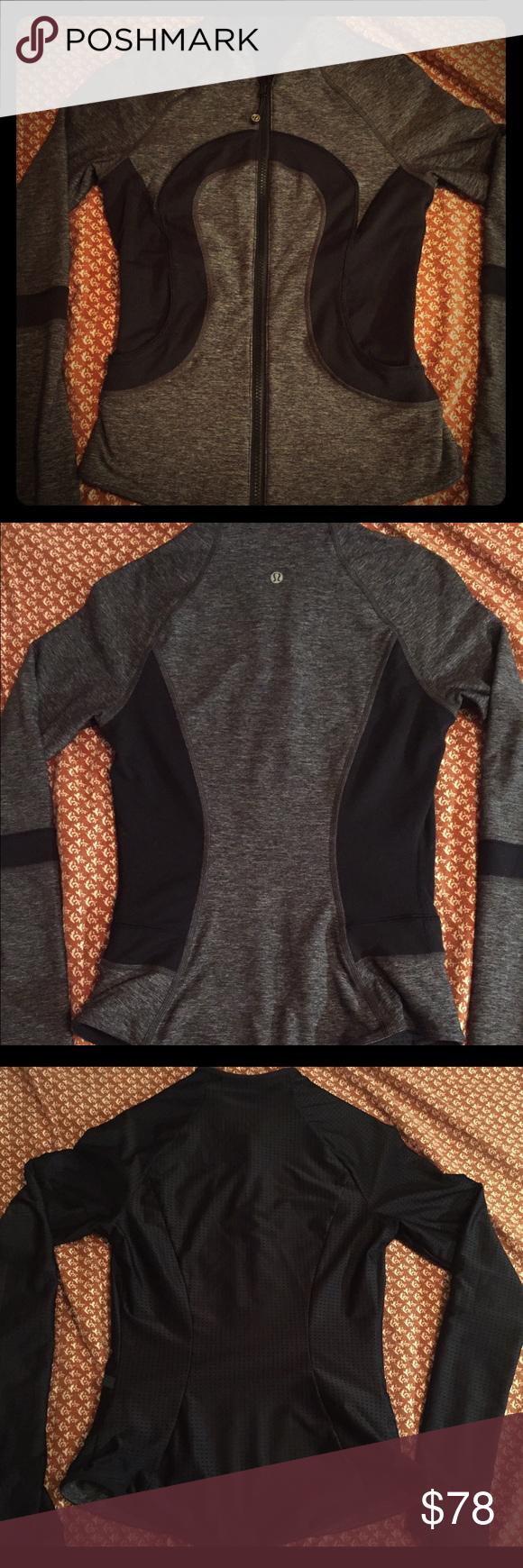 lululemon both way: black grey & mesh black jacket xs, barely worn, very comfy, too tight for me.. lululemon athletica Jackets & Coats
