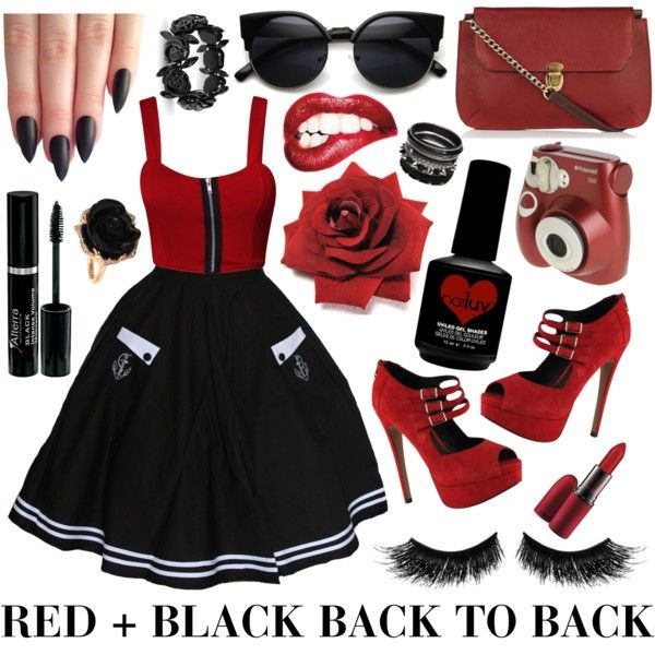 RED + BLACK by the-retro-radio on Polyvore