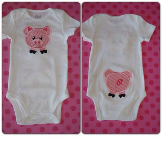 b5fcb2ab0 Custom Applique Pig BodySuit Front/Back | pigs | Baby, Pig baby ...