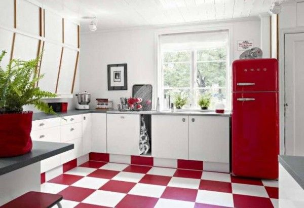 Cocina retro blanco y rojo La magia del color Pinterest