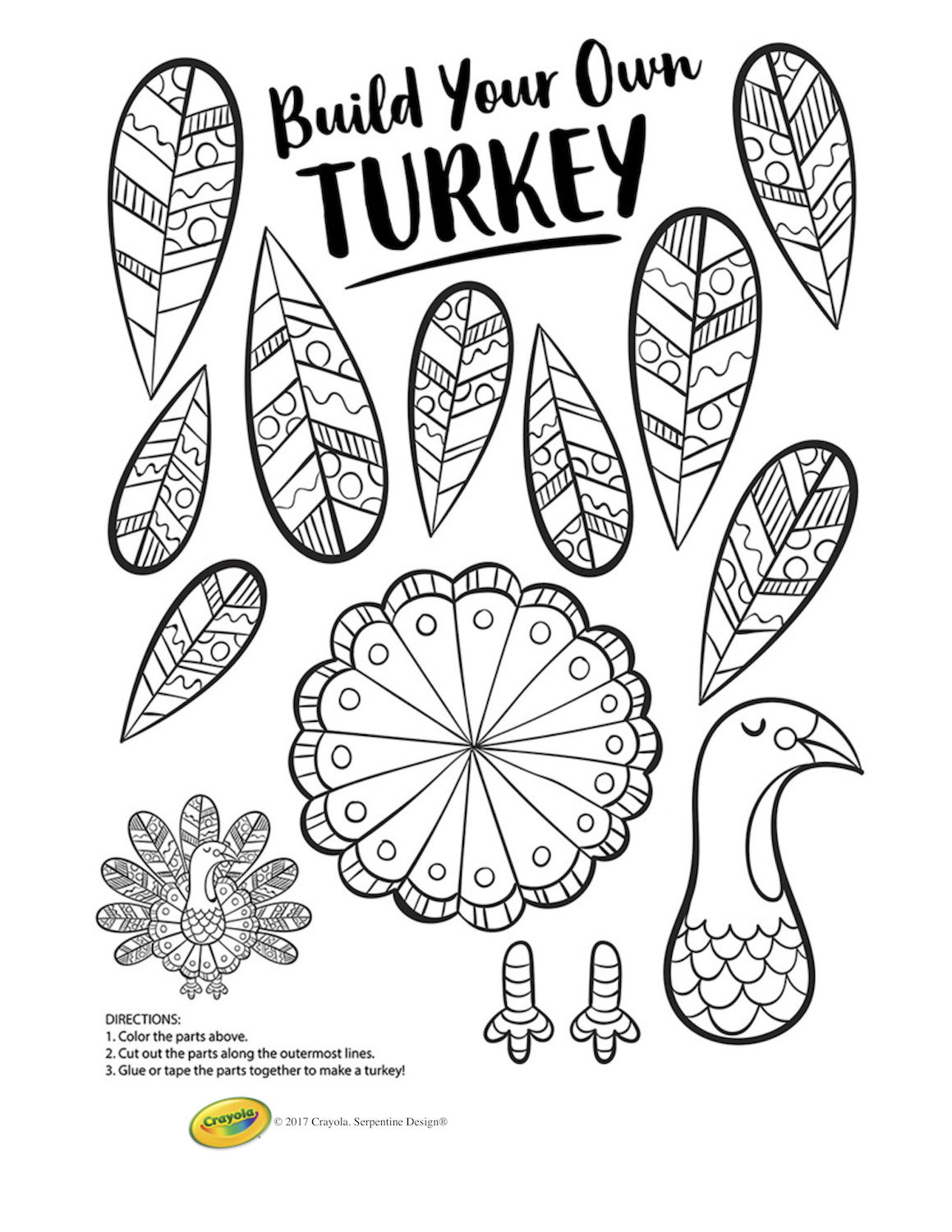 Thanksgiving turkey printable craft, plus 225+ free