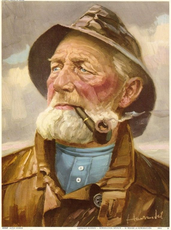 old man and the sea painting | FISHERMAN Mariner Old Man in the Sea, Vintage Art Print Germany ...