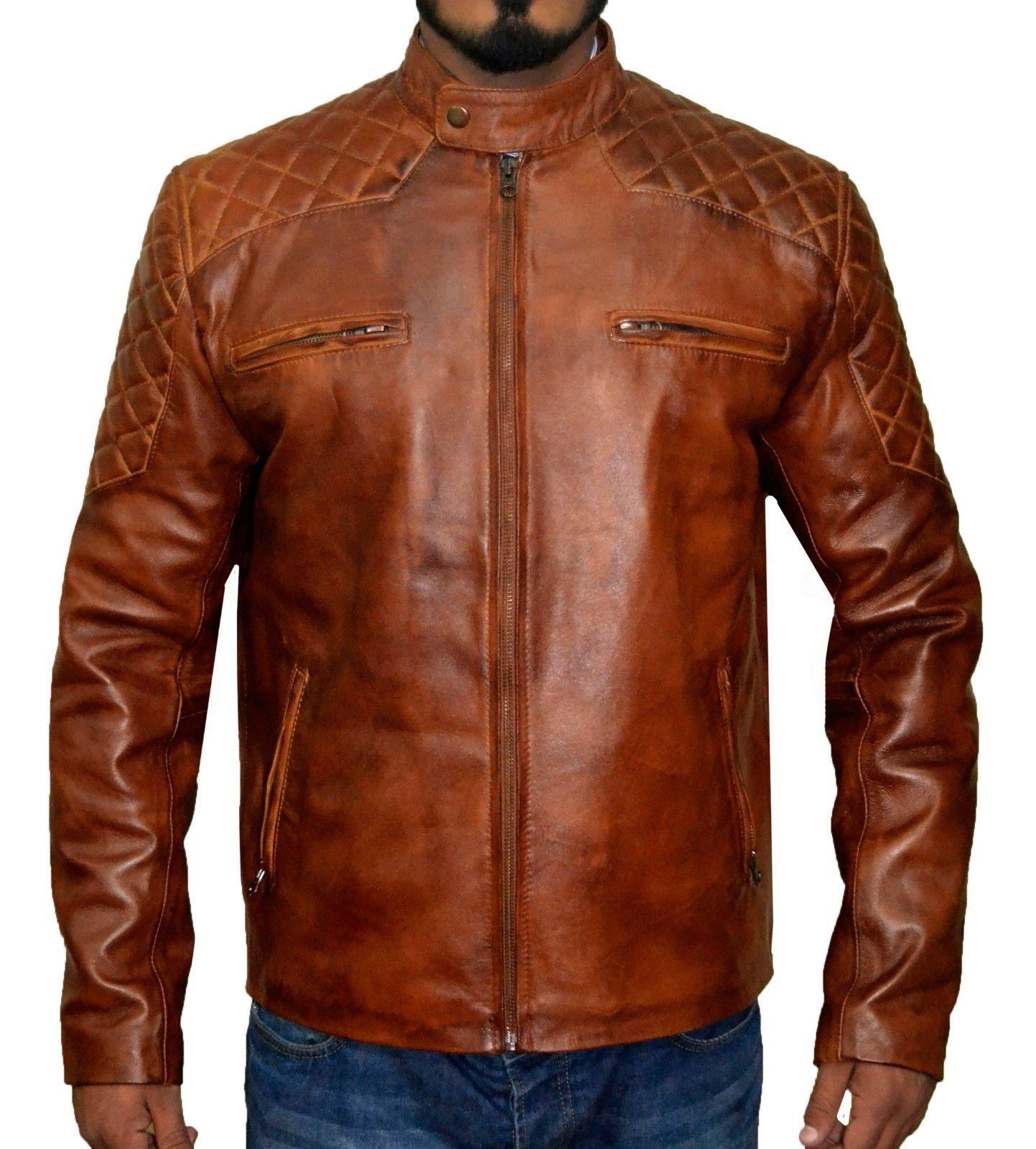 New Mens Leather Jacket Slim Fit Biker Motorcycle Genuine Leather Coat T571