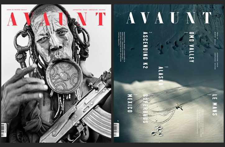 Avaunt magazine has released two starkly different covers for its latest issue, out tomorrow. The first, photographed by Matilda Temperley, is a brazen portrait of a Mursi woman in Ethiopia holding a gun; the second, shot by Frédéric Lagrange, depicts Alaska's glaciers and mountains.