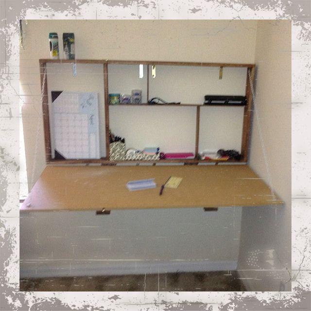 DIY drop down hanging desk  Be crafty  DIY Desk Drop