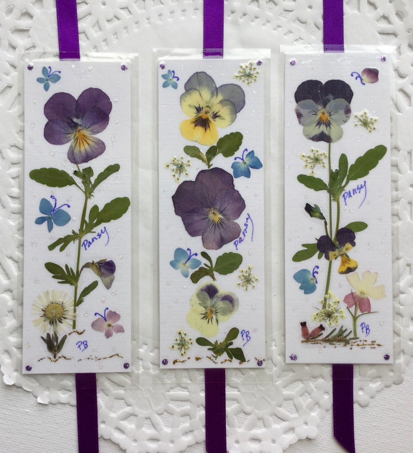 Pansy Bookmarks Pressed Flower Bookmarks Laminated