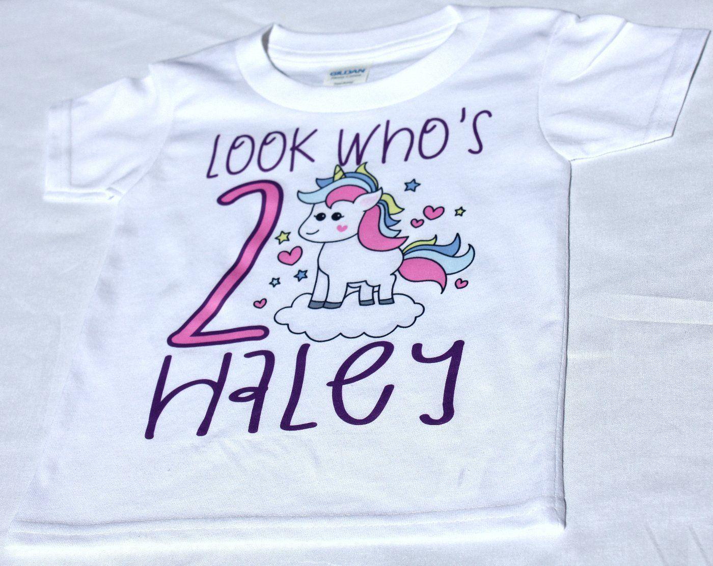 Look Who S Girls Kids Youth Unicorn Personalized Birthday T Shirt Tee Custom Name Age Cute Magic Gift Design 3 Handmad Tee Shirts Shirts Personalized Birthday,2018 Grand Design Solitude 375res