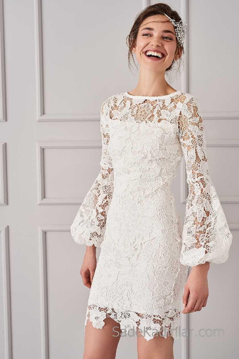 620497e38b4 2018 Beyaz Elbise Modelleri Yuvarlak Yaka Uzun Kollu Volanlı Kol ...