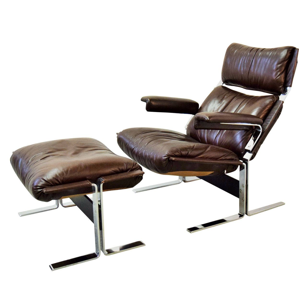 Leather Lounge Chair And Ottoman By Kipp Stewart