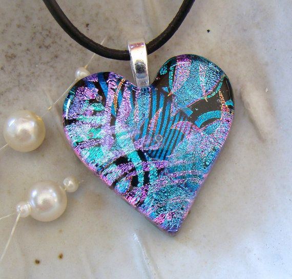 Heart Pendant Dichroic Jewelry Necklace Blue Pink by myfusedglass