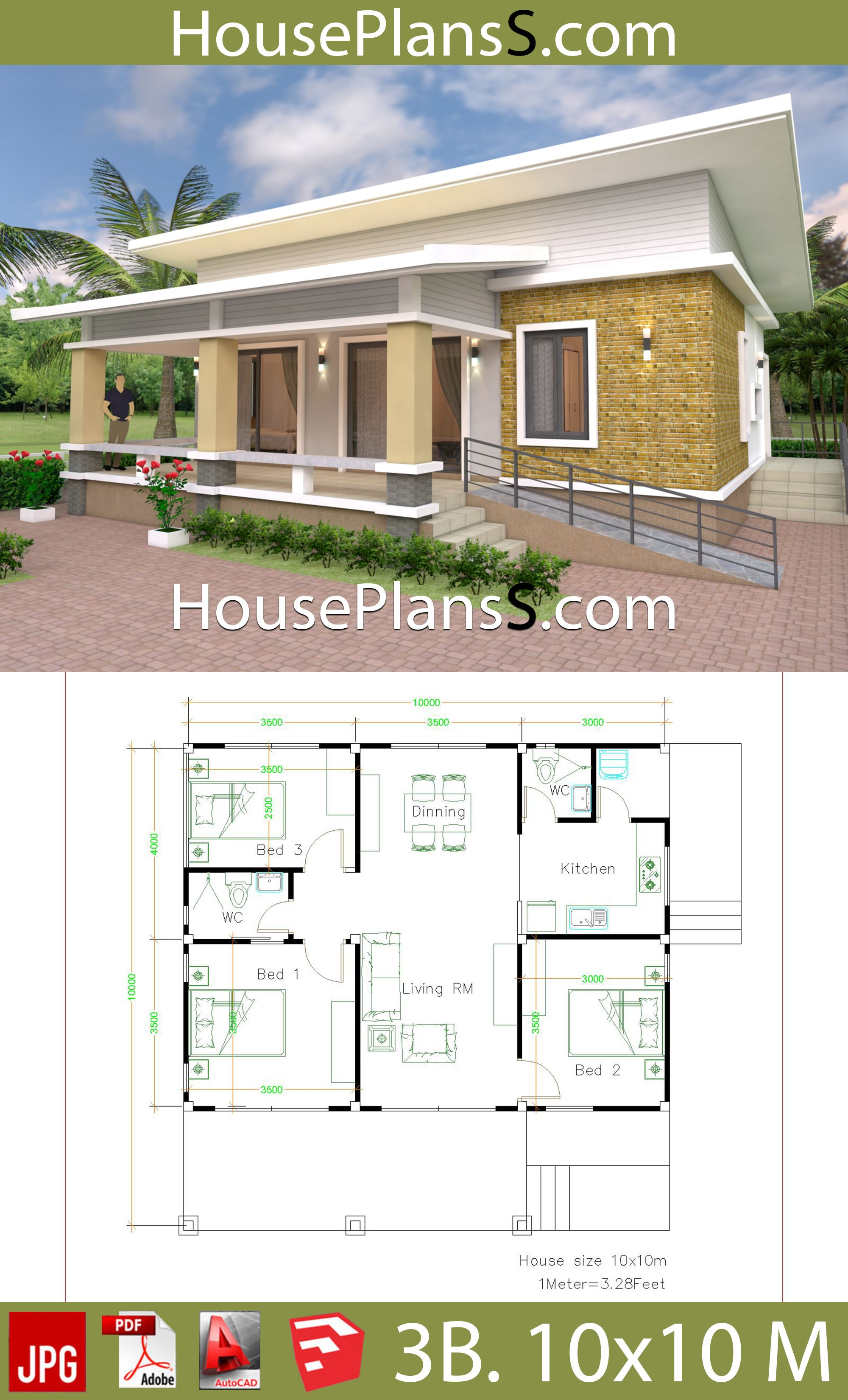 10x10 Living Room Design: House Design Plans 10×10 With 3 Bedrooms Full Interior