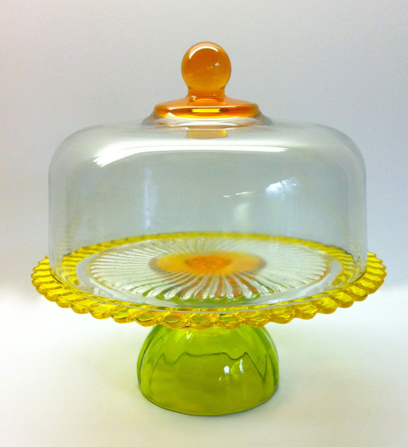 Vintage Cake Stand with Dome in Fun Yellow Orange and Green