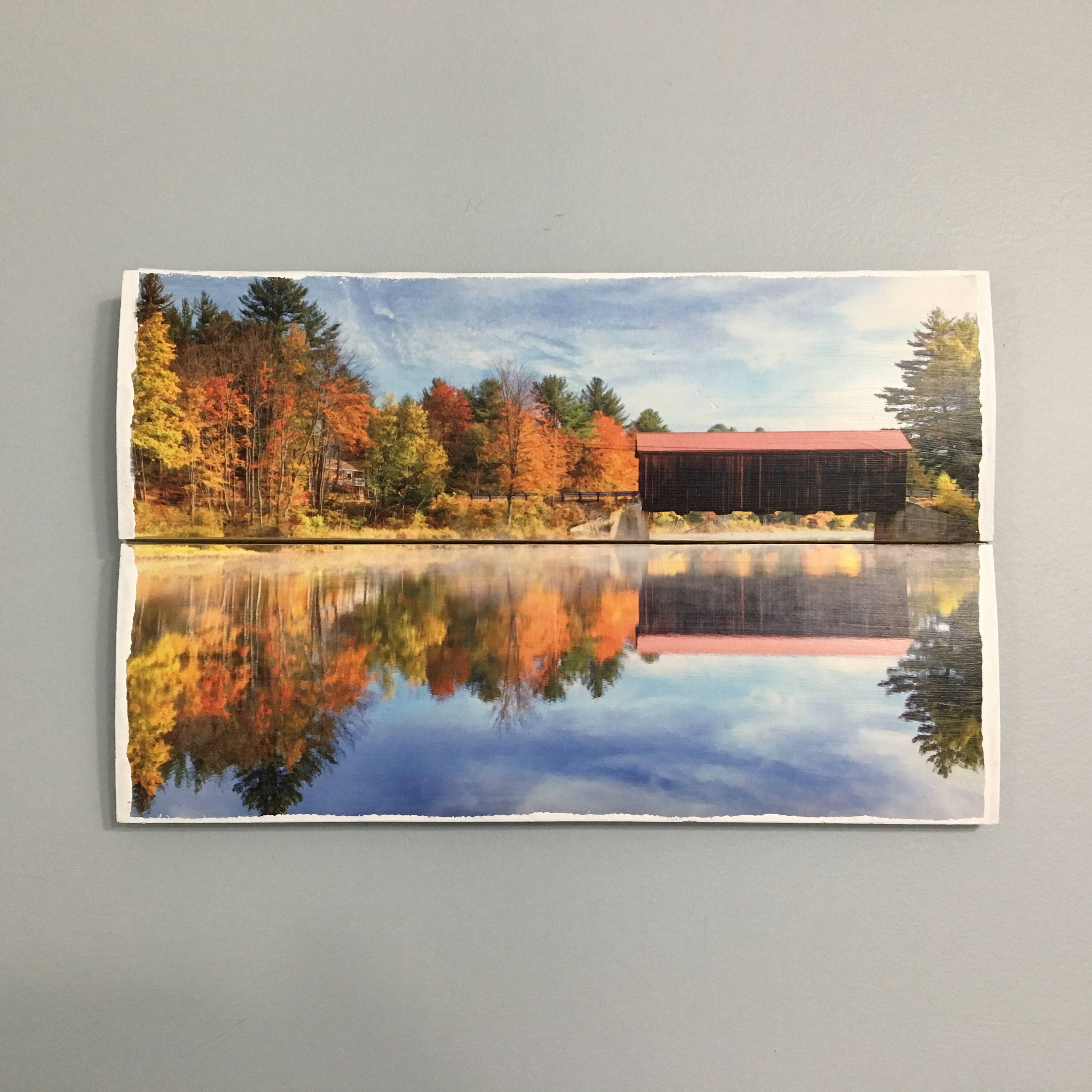 Reflected covered bridge wooden wall decor fall wall decor wooden