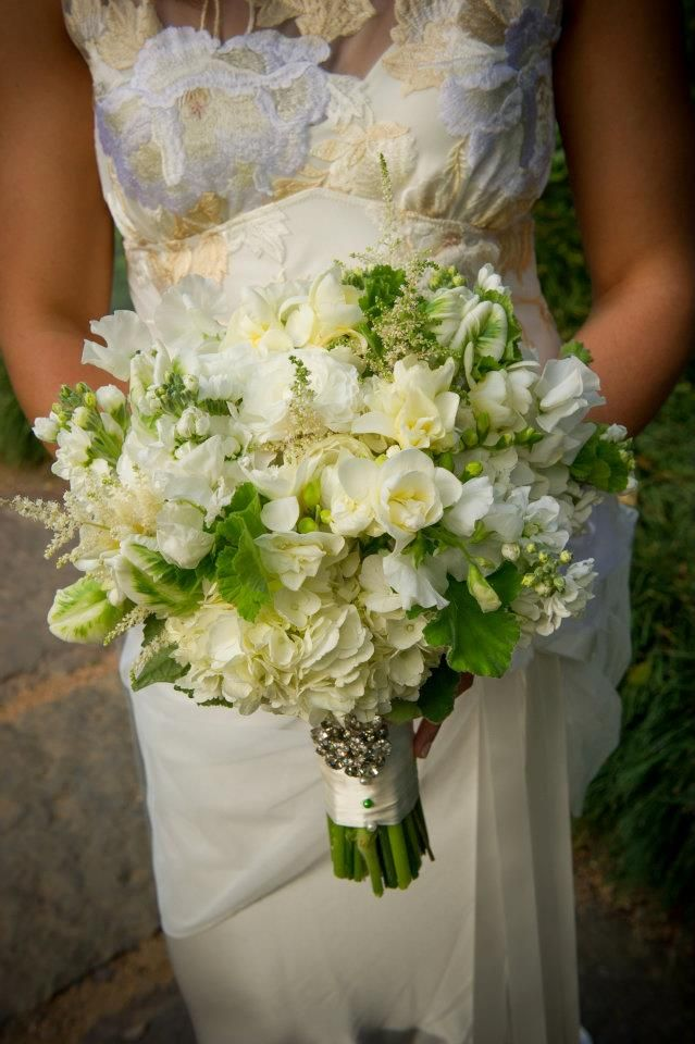 Green And White Garden Bouquet With Wedding Flowers Like Peony Tulips Freesia Astilbe