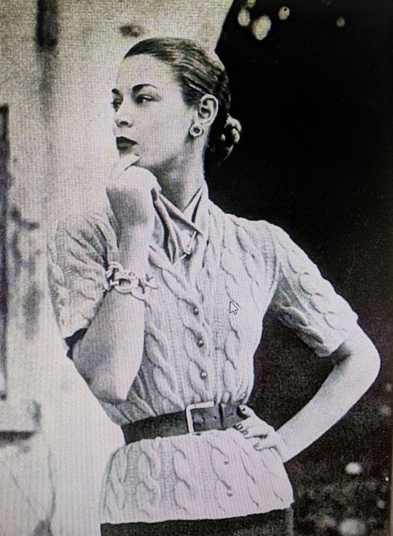 Vintage Knitting Pattern 1951 Sweater Jumper Cable Knit PDF Delivery ...