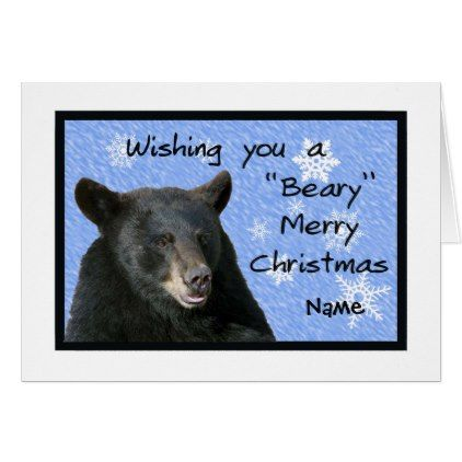 card for a child black bear and snowflakes christmas cards