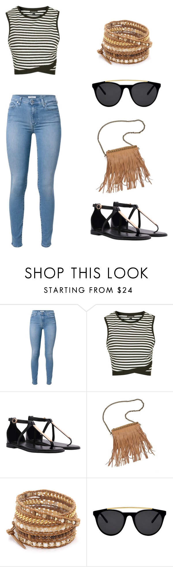 """Untitled #140"" by angela229 ❤ liked on Polyvore featuring 7 For All Mankind, Topshop, Patchington, Chan Luu and Smoke & Mirrors"