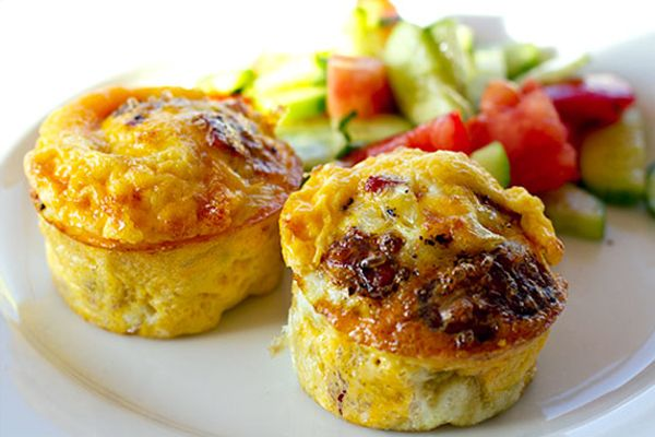 Egg Muffins with Onion, Salami and Halloumi