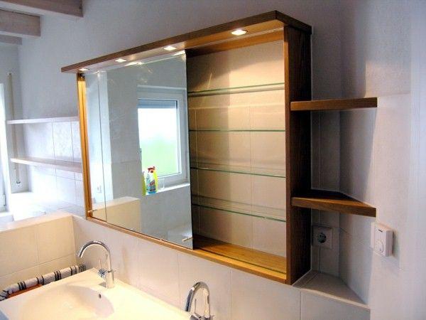 Salle De Bains Armoire A Glace Avec Eclairage Belles Idees Bathroom Mirror Cabinet Bathroom Bathroom Decor