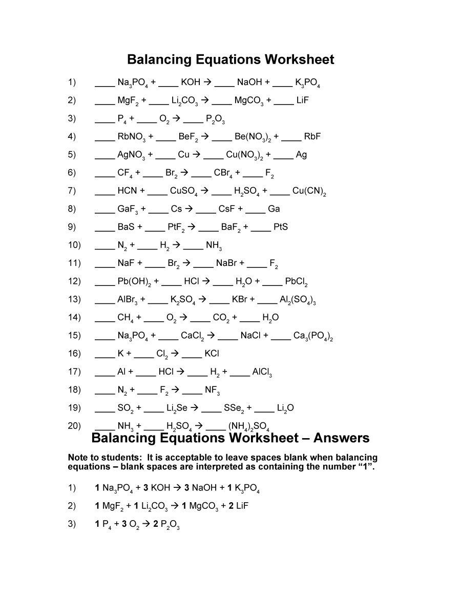 worksheet Balancing Equations Practice Worksheet Answer Key balancing equations 04 chemistry pinterest equation 49 chemical worksheets with answers