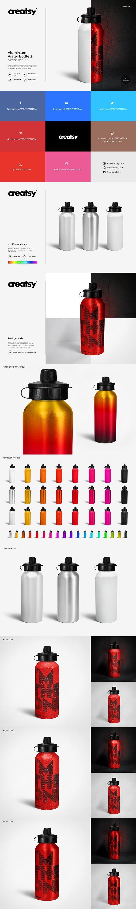 b97c795d351b1 Aluminium Water Bottle 2 Mockup Set. Gradients Photoshop | Gradients ...