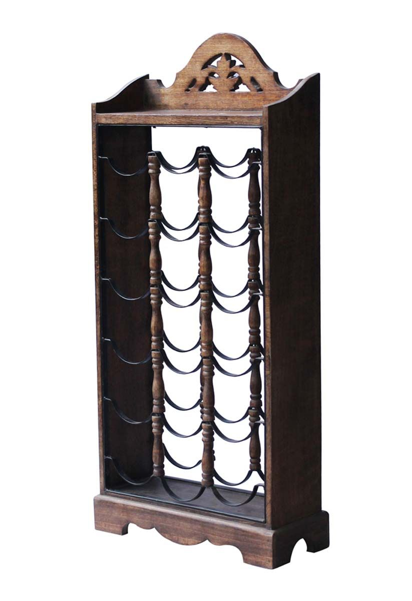 Bulk Wholesale 18 Wine Bottle Rack In Mango Wood U0026 Iron   Counter Top /