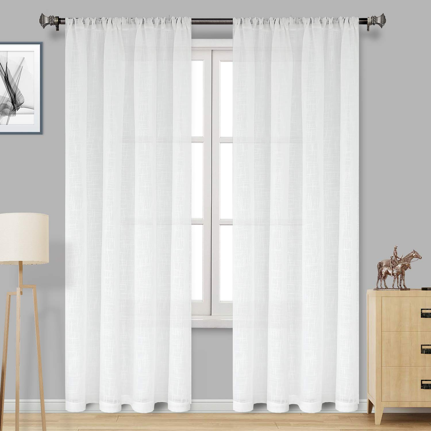Amazon Com Dwcn White Faux Linen Sheer Curtains Rod Pocket
