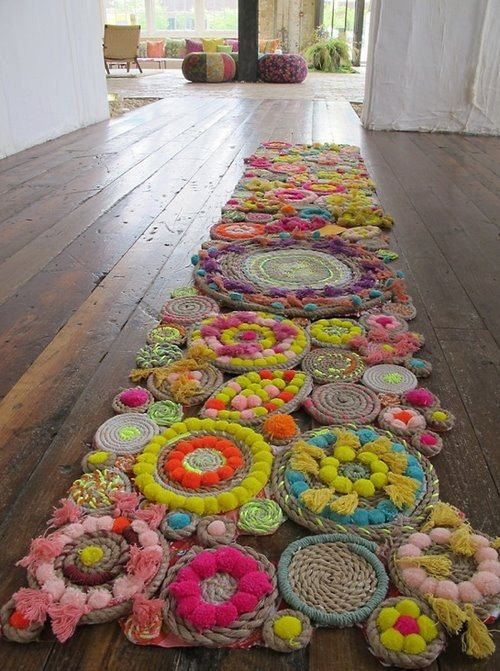 Make rug with woolen pompoms and other wool knots!