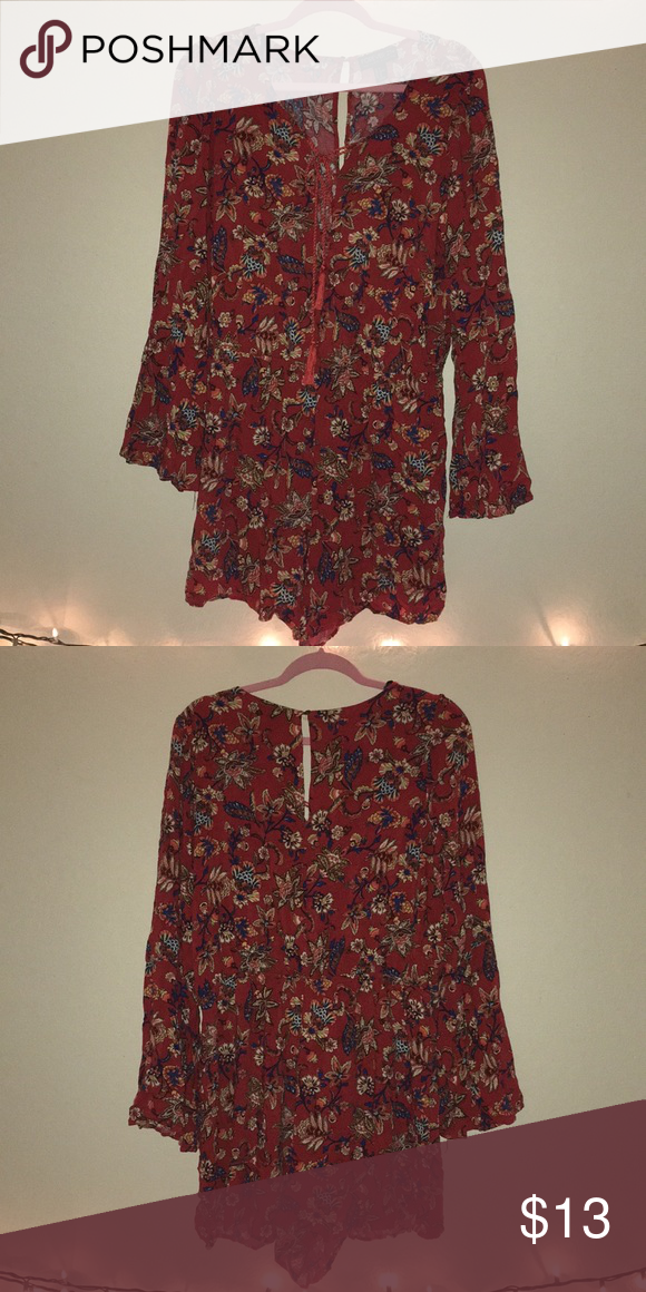0dbcab319 Forever 21 Orange floral romper Long sleeves Tied in front Floral patterned Forever  21 Pants Jumpsuits & Rompers