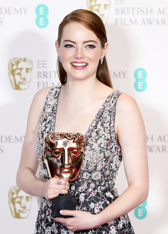 Emma Stone, winner of the Best Actress Award for 'La La Land', poses in the winners room at the 70th EE British Academy Film Awards (BAFTA) at Royal Albert Hall on February 12, 2017 in London, England.  Congratulations to Emma Stone. Pinned by @lilyriverside