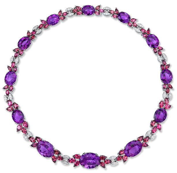 Cellini Jewelers Amethyst and Pink Tourmaline Necklace. Set in 18 karat white gold. Gorgeous.