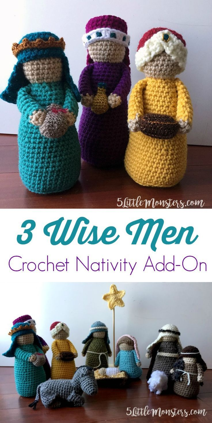 An addition to the Crochet Nativity, Three Wise Men. Each one has a ...