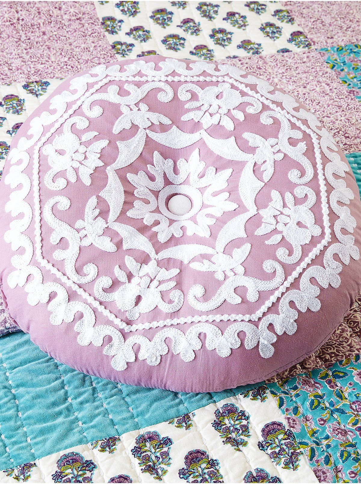 Numbra Twill Ruffle Decorative 16 Pillow - Embroidered Lavender / 16X16''