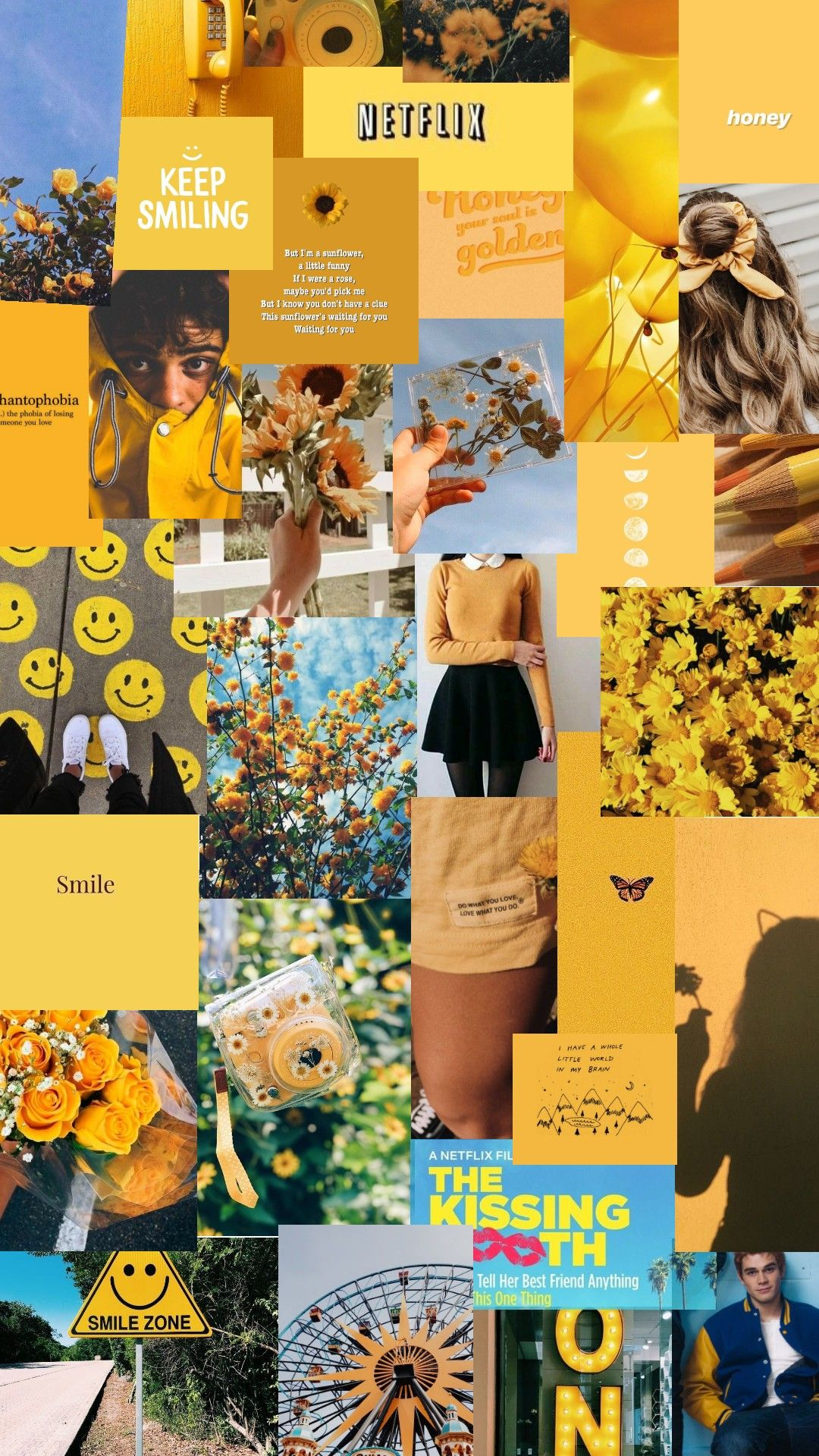 Yellow Photo Collage Pink Wallpaper Backgrounds Blue Aesthetic Pastel Pretty Wallpaper Iphone Aesthetic wallpaper collage yellow