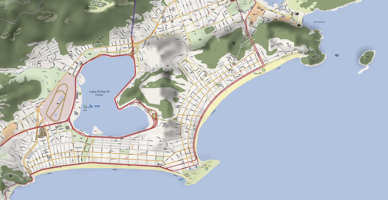 Map Copacabana 2016 Olympic Games Rio de Janeiro. Vector map in Adobe Illustrator Available.