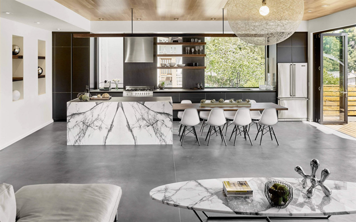 Download Imagens Cozinha Interior Moderno Tabela Grande Elegante Design De Interiores Kitchen Interior Best Kitchen Designs Modern Kitchen Design