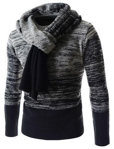 f0f6ba188f4d The Gradient Knit Sweater w Muffler Scarf