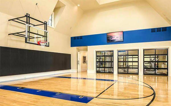 Basement Basketballkorb Basement Basketballkorb Home Basketball Court Home Gym Design Indoor Sports Court