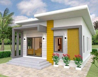 20x40 House 2 Bedroom 1 5 Bath 859 Sq Ft Pdf Floor Plan Instant Download Model 7q In 2021 Small House Front Design Small House Design Small House Design Plans