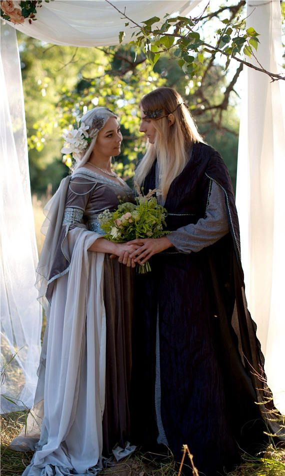 Silver Gray Elven Dress Romantic Fantasy Gown Wedding Dress