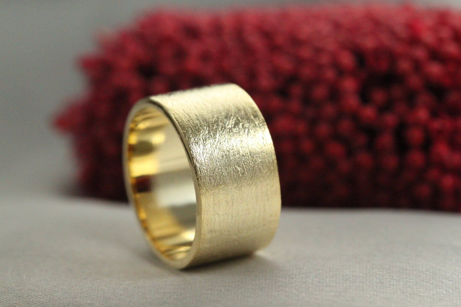Wedding Band Handmade Wedding Ring Gold Ring 14k Sand Texture Ring 10mm Wide Gold Ring 14k Solid Gold Ring Mens Wedding Ring In 2020 Handmade Wedding Rings Gold Rings Wedding Bands