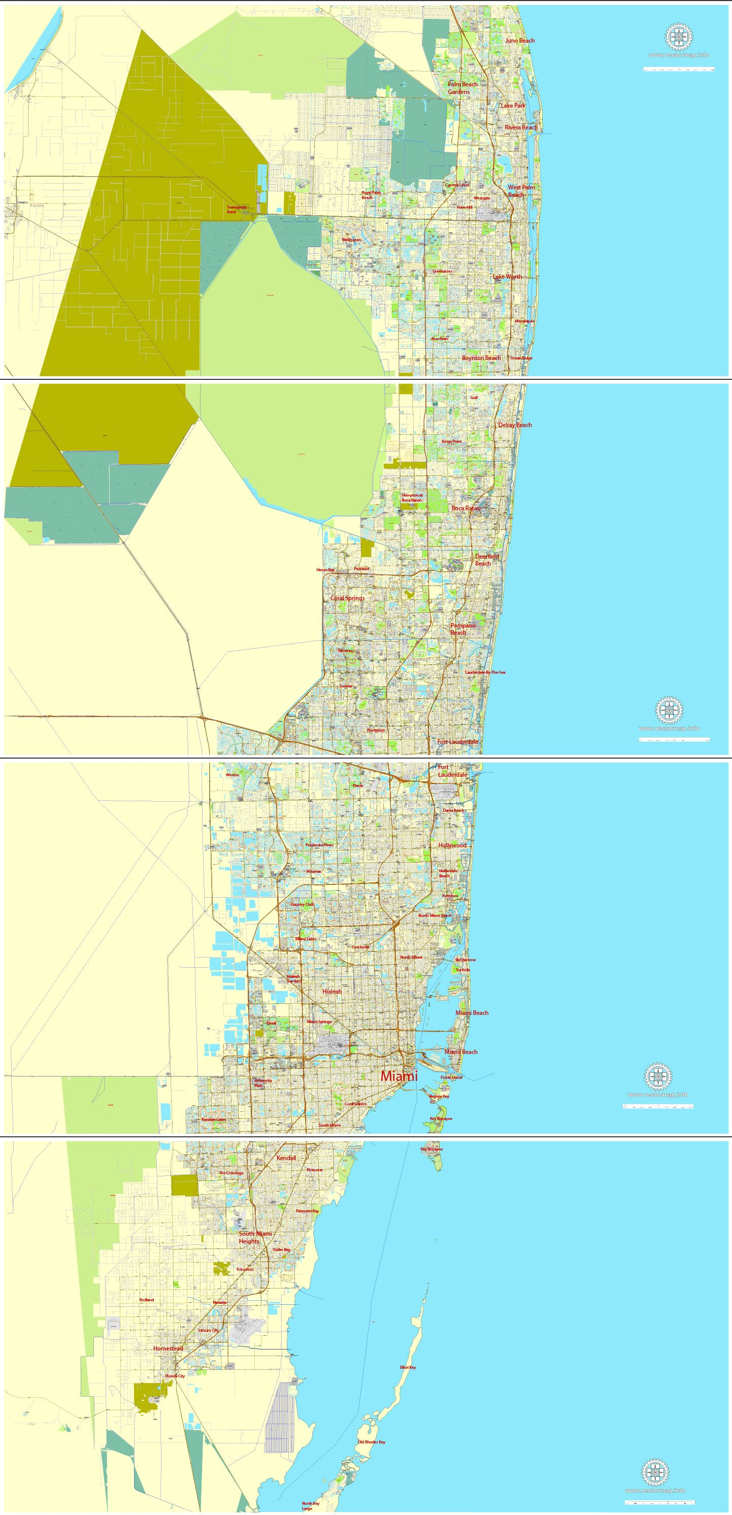 miami pdf map florida us exact vector city plan map in 4