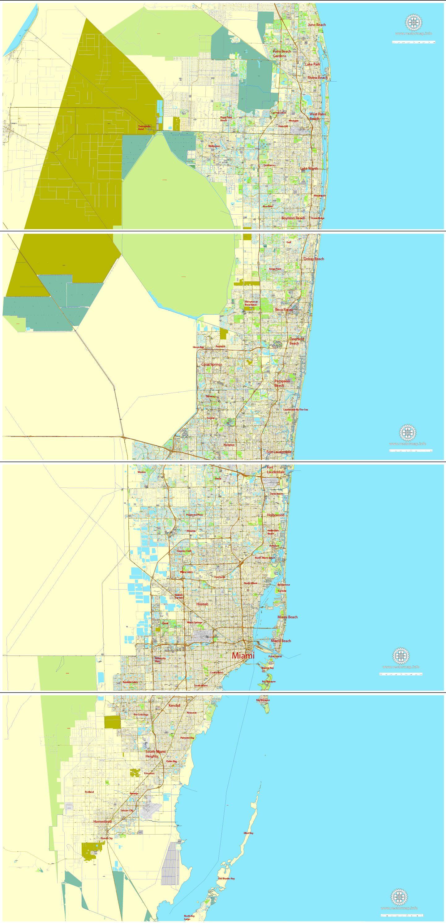 Map Florida City Names.Miami Pdf Map Florida Us Exact Vector City Plan Map In 4 Parts